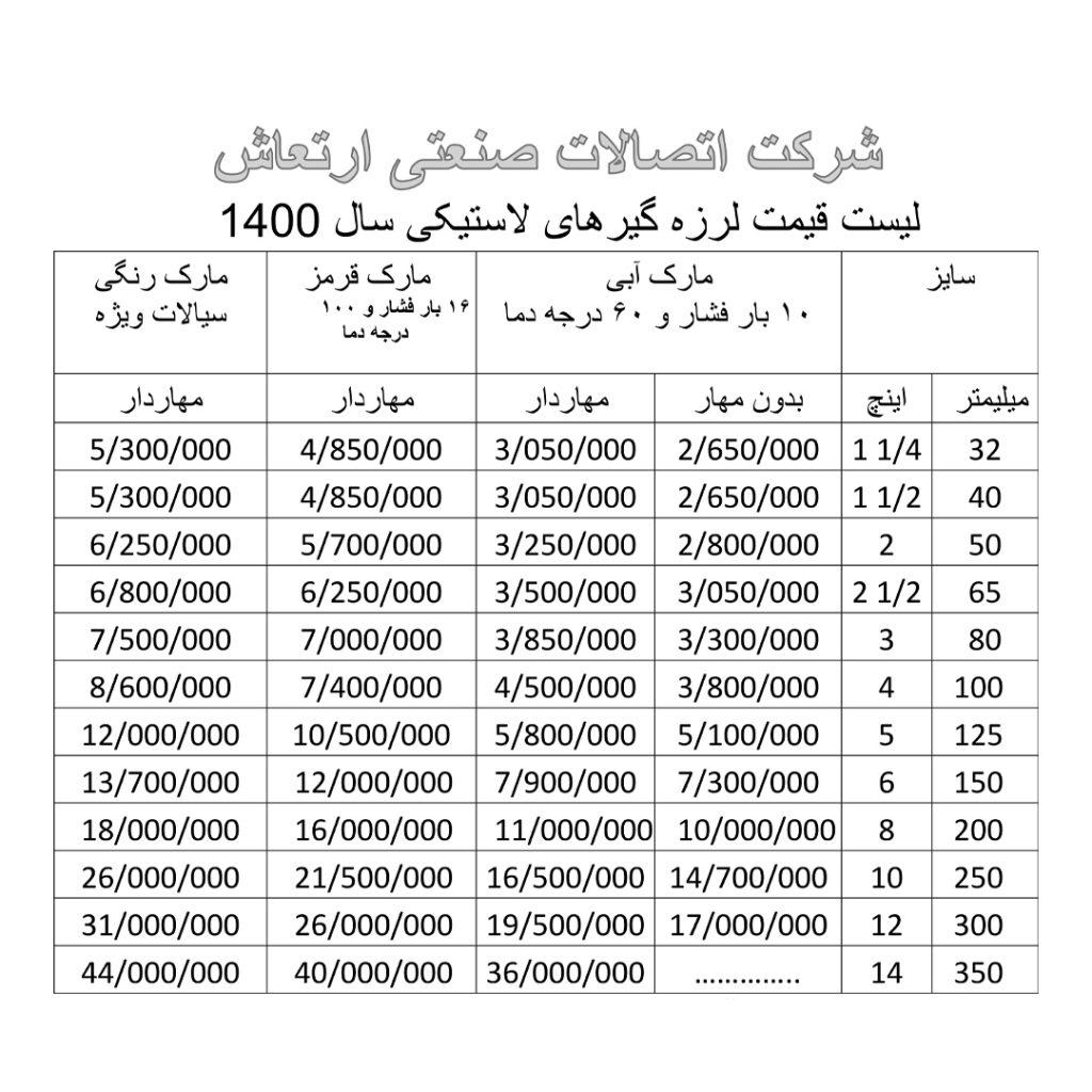 لیست قیمت لرزه گیر لاستیکی ارتعاش